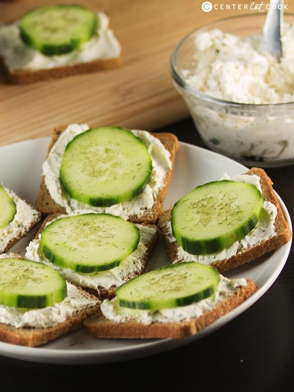 Classic Cucumber Sandwiches made with cream cheese