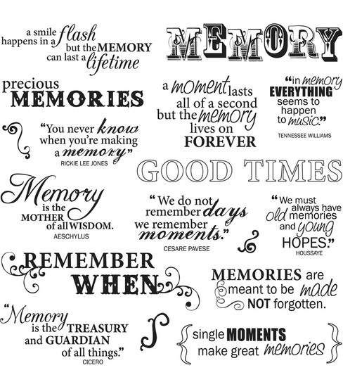 Add beautiful quotes to your handmade creations with the Fiskars Quotes Clear Stamps. These non-yellowing stamps will make crisp and clear images on your scrapbook pages, picture albums, personal gree