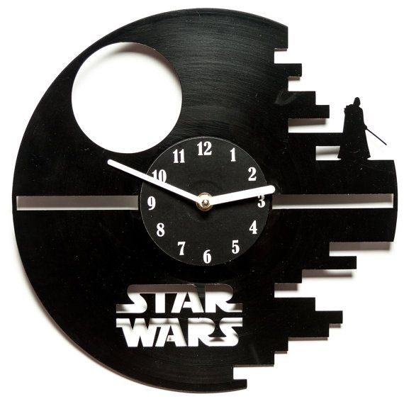 Vinyl clock star wars - Unique Record wall clock - modern wall clocks- Vinyl clock--  Star wars gift -gift for musicians - Death Star