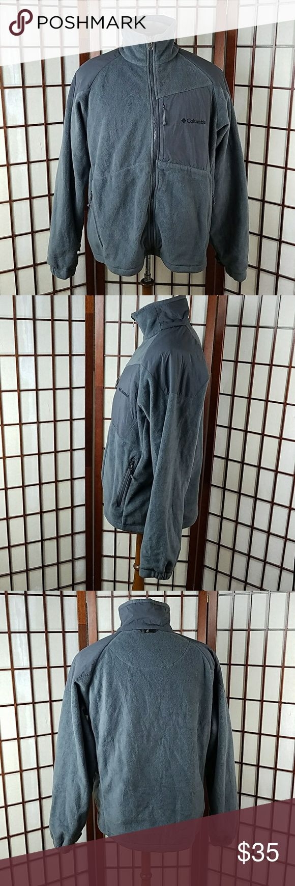 "Columbia Sportswear Company Zip Up Jacket Pre-owned gently worn  COLUMBIA SPORTSWEAR SIZE MEDIUM  Zip Up Jacket Gray Color Solid pattern  Has 3 zip pockets  Made of 100% polyester    Measurement Approximate Pit to pit 24""  Shoulder to hem 27""  #2 Columbia Jackets & Coats"