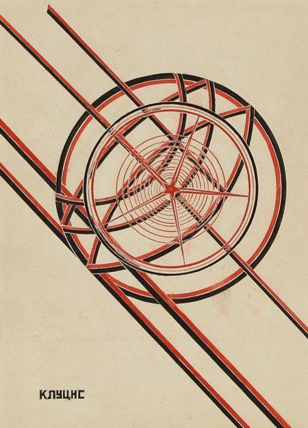 GUSTAV KLUTSIS (LATVIAN-RUSSIAN 1895-1938)   Mirovoi Oktyabr' [World October]  gouache on paper  29 x 21 cm (11 3/8 x 8 1/4 in.)