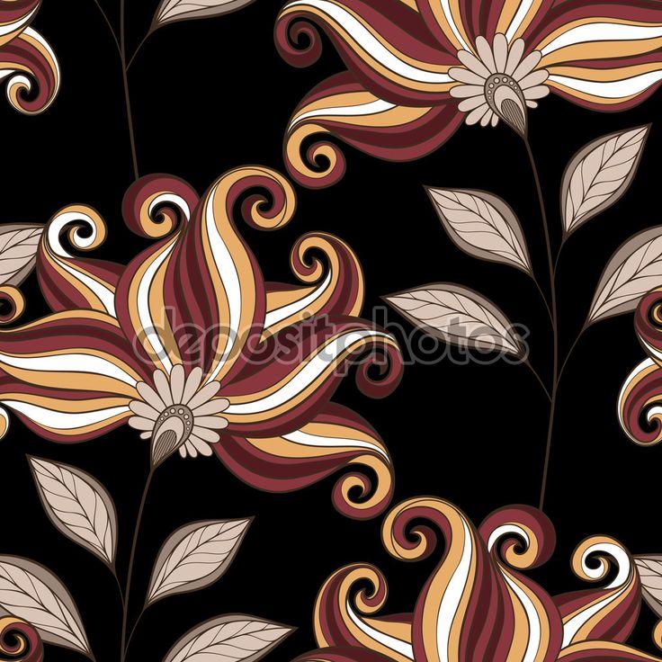 Бесшовные Абстрактные Цветы — стоковая иллюстрация #74894723