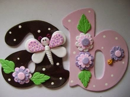 NÚMEROS e LETRAS decorados - Biscuit e Arte arte - Álbuns da web do Picasa