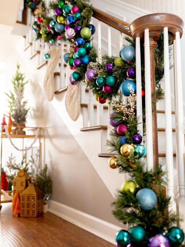 Colorful Christmas Staircase Decorating Ideas Hgtv Christmas