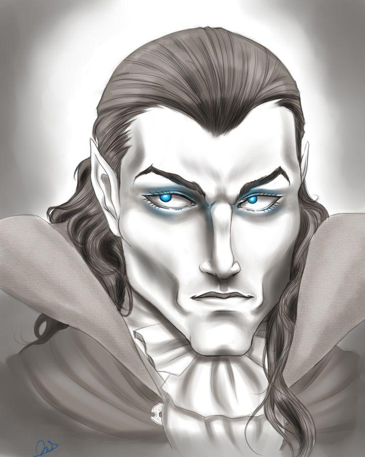 Ser Vladmir Blair by ObsidianTrance #portrait #digital #monochrome #semirealism #fantasy #sorcerer #noble #characterconcept