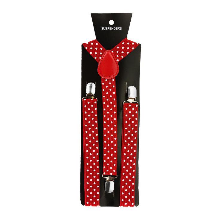 Hosenträger Unisex verstellbar Y -Form - rot - weiß gepunktet in Bekleidung Accessoire  • Hosenträger