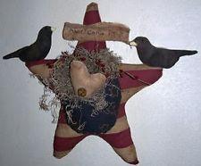 PATTERN Primitive Crows on American Flag Star Door Hanger Wreath Doll UNCUT