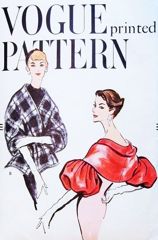 1950s GORGEOUS Evening Stole Capelet Wrap Pattern VOGUE 9428 Pure Elegance Three Styles Ultra Unique Designs Medium B 34-36 Vintage Sewing Pattern