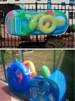 Pool Float Storage Ideas pool toy storage on the cheap Find This Pin And More On Pool Ideas