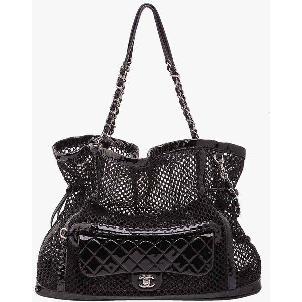 Pre-owned Chanel Mesh Sac Tote shw with Patent Flap Bag ($3,812) ❤ liked on Polyvore featuring bags, handbags, tote bags, black, black patent tote bag, black tote, black handbags, black patent leather handbag and chanel purses
