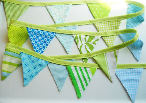Blue Green Boy Bunting Fabric Flags Banner by MariaClaireInteriors, $30.00