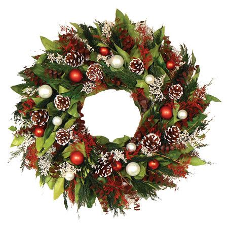 Preserved assorted leaves wreath with frosted pinecone and ornament accents.