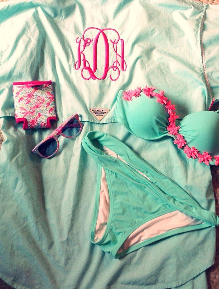 Preppy Swimsuit Monogram Bathing suit Aqua Pink Mint