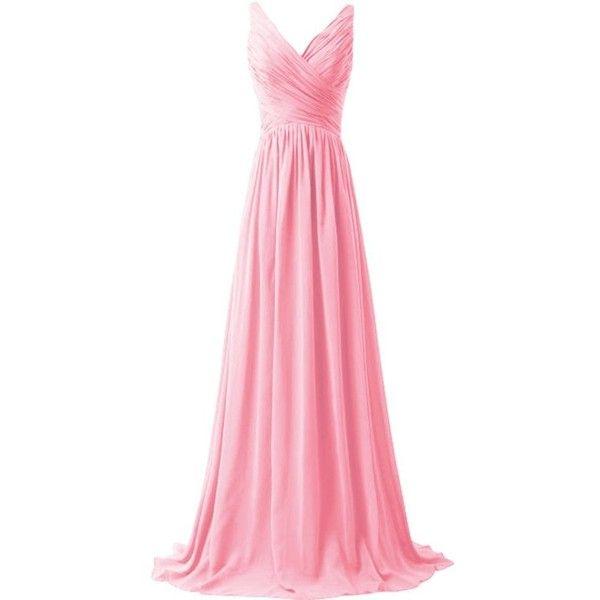 WeiYin Women's Chiffon V-neck Sleeveless Bridemaid Dresses at Amazon... ($40) ❤ liked on Polyvore featuring dresses, no sleeve dress, v neckline dress, chiffon dresses, sleeveless chiffon dress and sleeveless dress