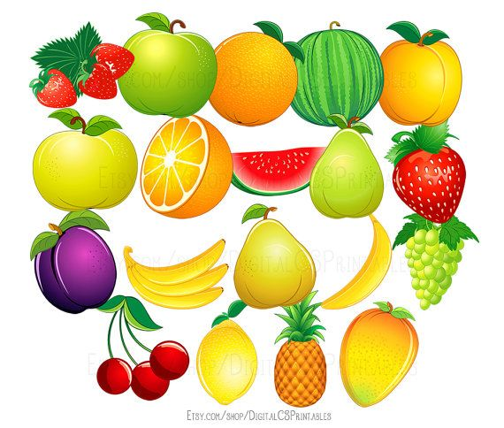 Fruit clipart Cute clipart Fruit clip art Food clipart cute clip art Health clipart healthy clipart Vegetarian clipart vegan clipart by DigitalCSPrintables on Etsy.