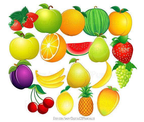 Fruit clipart Cute clipart Fruit clip art Food clipart cute clip art Health clipart healthy clipart Vegetarian clipart vegan clipart by DigitalCSPrintables on Etsy.