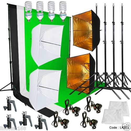 Photo Studio Lighting and Background Muslin Backdrops Photography Studio Kit | eBay $150