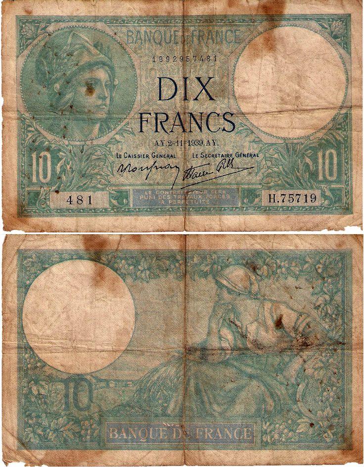 Banque de France - 10 francos - 1939
