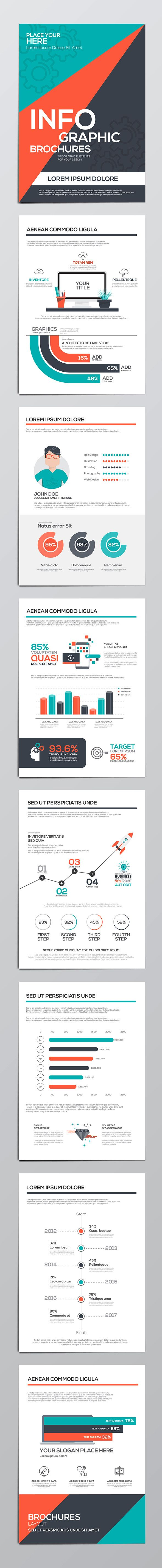 Infographics elements for corporate brochures. Collection of modern infographic elements in a flyer and brochure concept. Flat design
