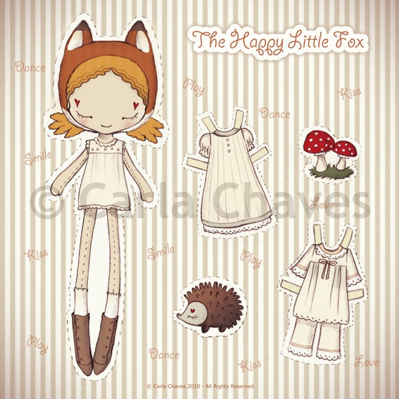 The Happy Little Fox paper doll