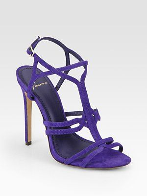 B Brian Atwood Lorrina Suede High Heel Sandals- they also come in pink, orange and black but LOVE this purple best, perfect accent to neutral dresses