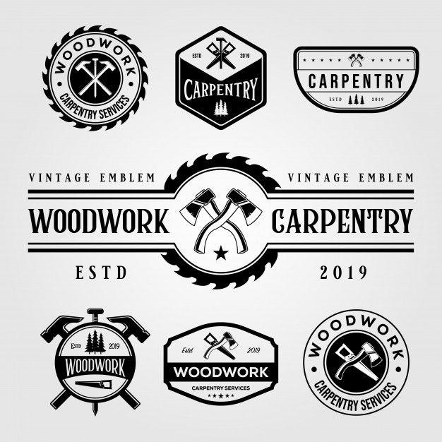 Set Of Carpentry Woodwork Vintage Logo Craftsman In 2020 Woodworking Logo Vintage Logo Carpentry