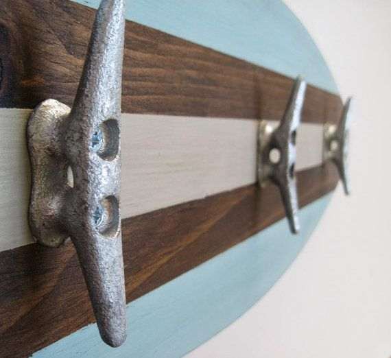 """Surfboard Towel Rack 28"""" with Boat Cleats Seafoam, Tan and Dark Stain on Etsy, $69.00"""