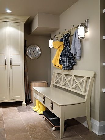 Sarah Richardson's great idea...... Built in IKEA.Sarah Richardson, Ideas, Mudroom, Benches, Sarahrichardson, Mud Rooms, Sarah House, Sarahs House, Laundry Room