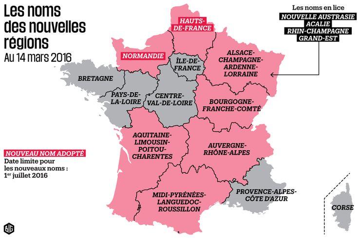 Les noms de régions actuels, adoptés ou en lice.