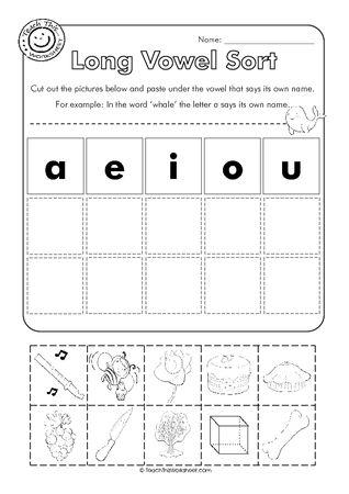 math worksheet : long vowel cut and paste worksheets : Kindergarten Vowel Worksheets