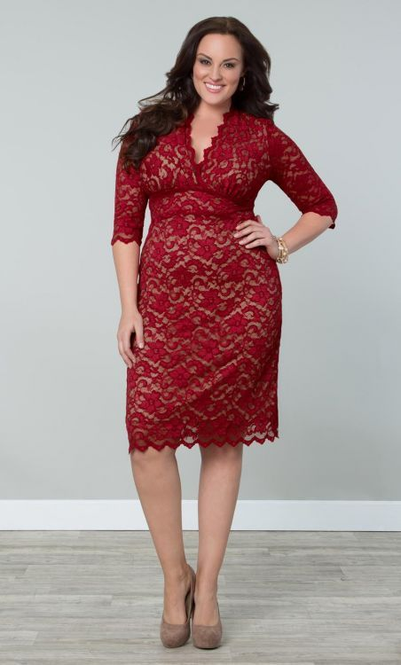 Curvalicious Clothes :: Plus Size Dresses :: Scalloped Boudoir Lace Dress - Red