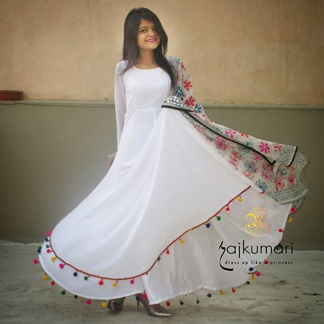 Trending POM-POM!!  . *Lashkara Anarkali* . Material:- Georgette with shantoon lining and pompom lace detailing.  Cost:- 1499/- for anarkali  999/- for dupatta *can be done in every possible color*  #rajkumari_dressuplikeaprincess
