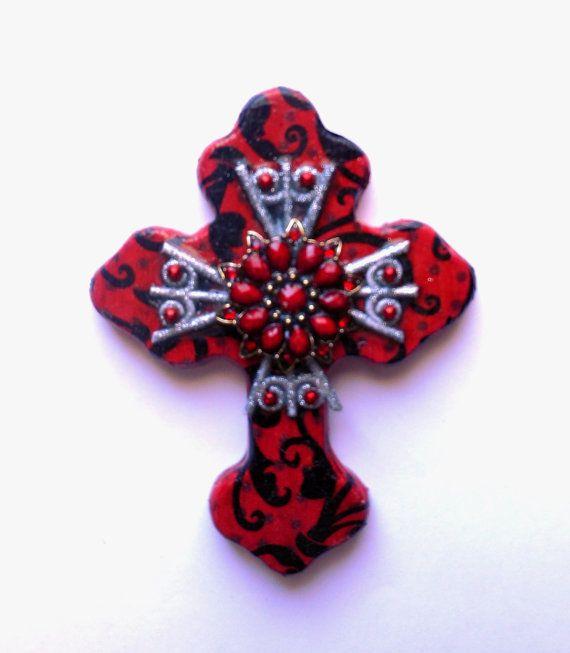 Искусство крест использованы красный ручная роспись декупаж найденный объект, смешанная техника религиозного искусства подарок стене крест