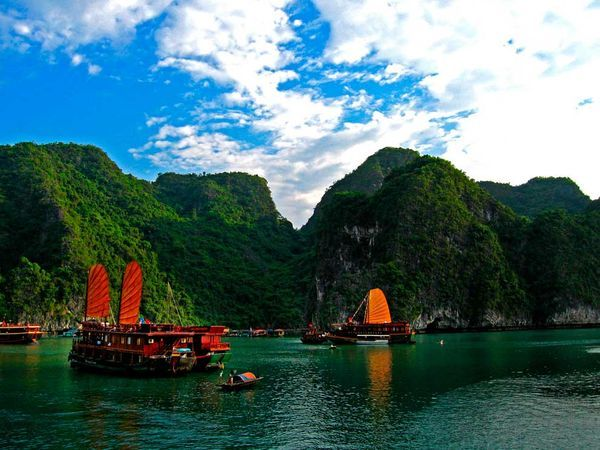 Vietnam's Ha Long Bay is dotted with small floating villages and deserted sandy beaches.  We almost used our summer break to go here last year and take a cruse!!