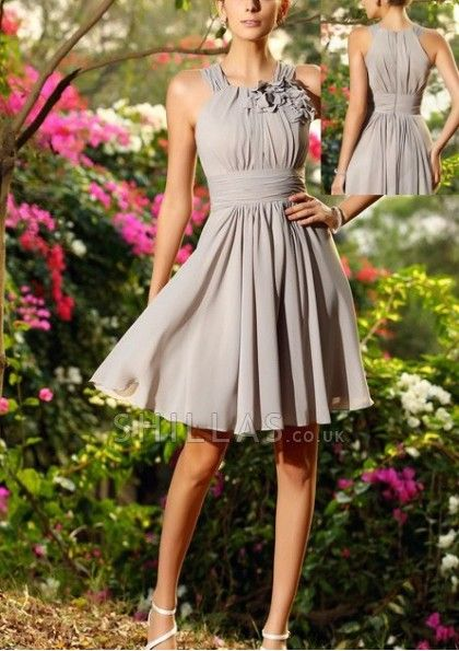 Halter Short A-line Chiffon Bridesmaid Dresses With Ruched And Flower - 1640080 - Bridesmaid Dresses