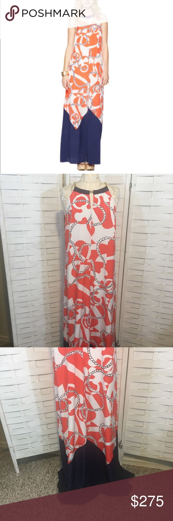"""NWT Lilly Pulitzer booze cruise dress N.532 New with tags attached Winnie style maxi dress! The name of the print is """"booze cruise"""". No flaws! This dress is beautiful! 100% silk! It has a fun link chain for the straps, it's fully lined and has a hidden back zipper. Lilly Pulitzer Dresses Maxi"""