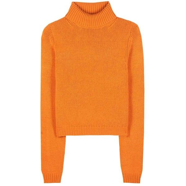 Acne Studios Sabia Wool Turtleneck Sweater found on Polyvore featuring tops, sweaters, shirts, orange, turtleneck sweater, turtle neck sweater, polo neck shirts, wool sweaters and orange top