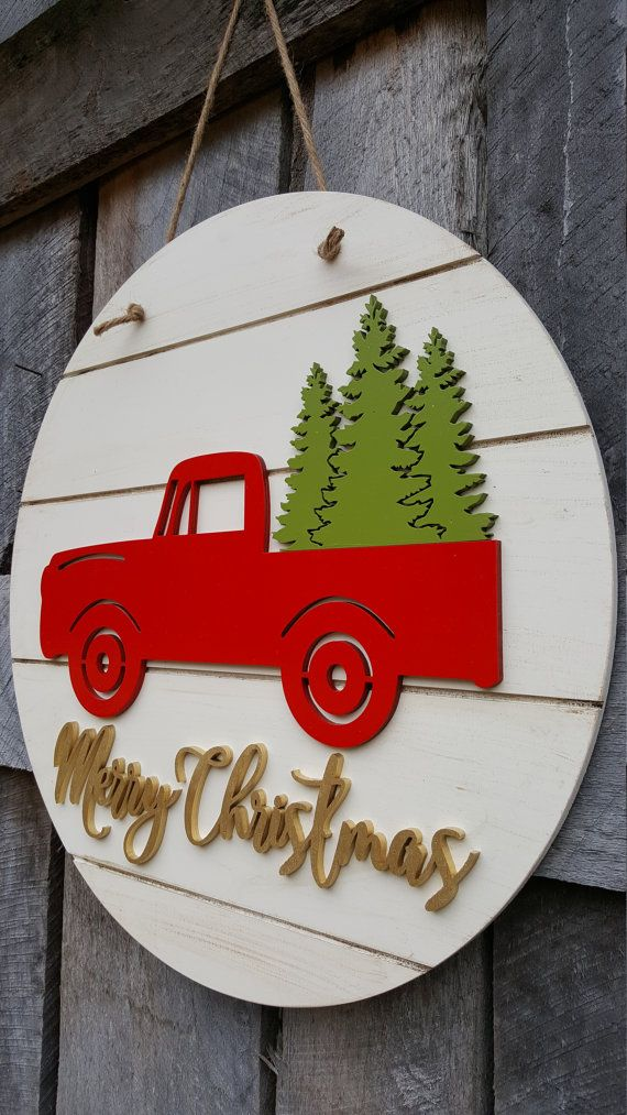 Merry Christmas Door Hanger Retro Truck Christmas Wreath