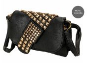 We love this asymmetric studded clutch