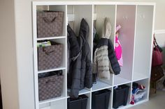 Using Ikea Lappland tv stand to make lockers for the kids. Ikea hack for mudroom organization.