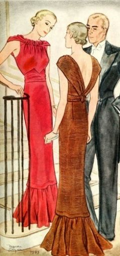 1930s Ladies Evening Gown with Gathered Neckline (t7595)