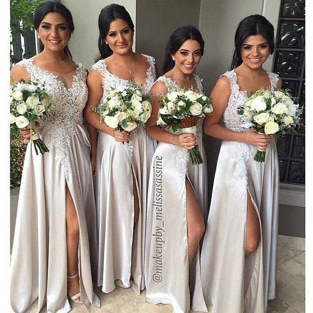2017 Free Shipping Sqaure Empire Chiffon Silver Bridesmaid Dress Lique Beaded Front Split Formal Women Evening Maid Of Honor G Dresses