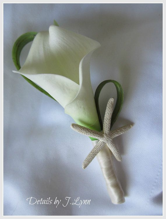 Tropical Beach Boutonniere / Bout  Calla Lily by detailsbyjlynn