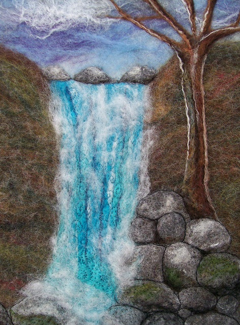 Isle of Skye Waterfall    Another piece inspired by the waterfalls at the Fairy Pools on Skye. I wet felted the back ground then needle felted the detail. I bought a drum carded batt from Maria a while back and it was perfect for the background.
