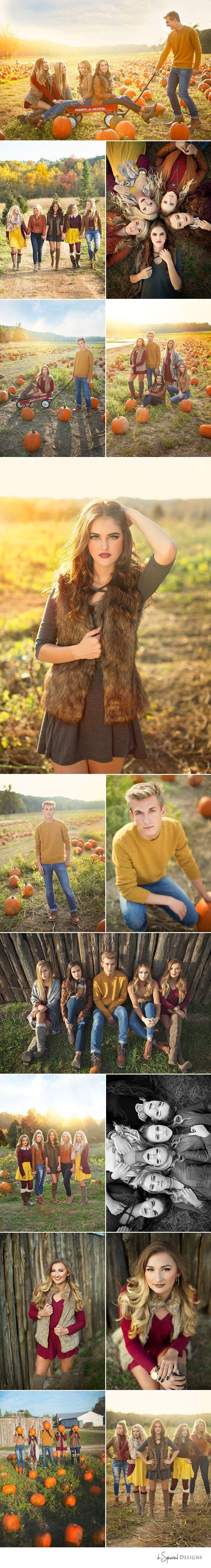 d-Squared Designs St. Louis, MO Senior Photography. Senior model team. Senior model inspiration. Fall shoot. Pumpkin patch. Senior pumpkin inspiration. Girl posing. Group posing. Red flyer wagon idea.