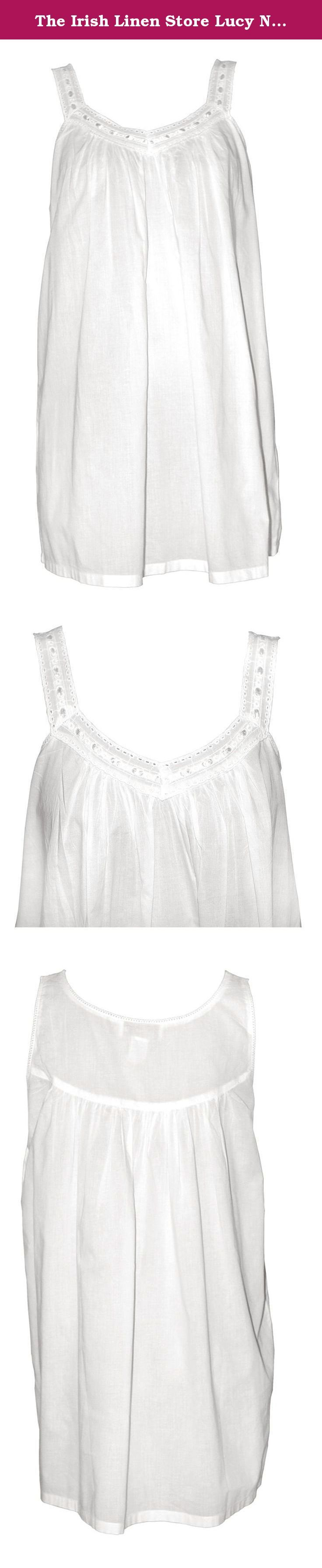 The Irish Linen Store Lucy Nightgown White Large/XL. Here is one of our 'Shorties' (as we like to call them). A cute, short length, baby doll-style Nightgown with an 'Embroidery Anglais' v-neckline, threaded ribbon detail and thin straps. Perfect if you are looking for something with a little less fabric to sleep in. M/L 10-12 Length 82cms, L/XL 12-14 Length 82cms.