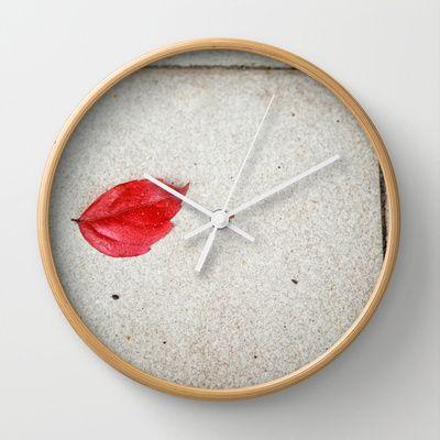 Red leaf Wall Clock by Silvia Ganora - $30.00