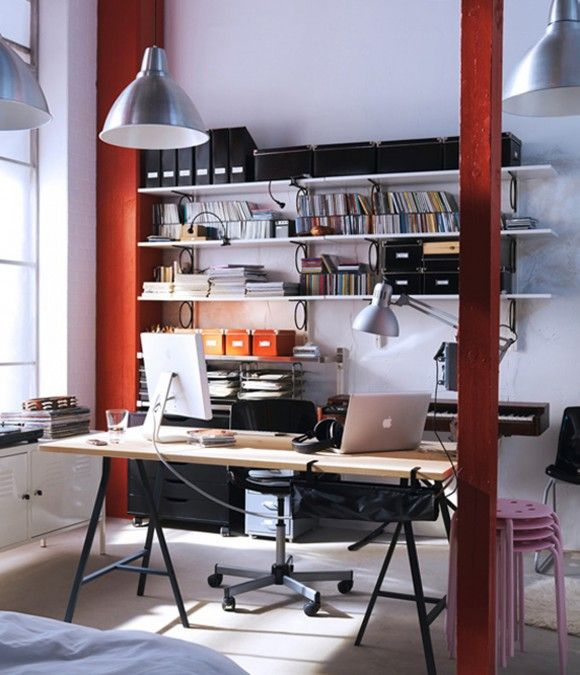 Nice Cool IKEA Workspace Design Ideas : Modern IKEA Workspace Decorating With  Wooden IMac Table And Open Bookshelf