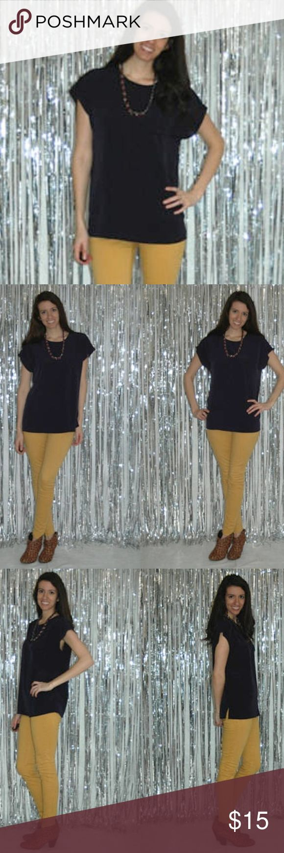 """Vtg Maggie Sweet Navy Cap Sleeve Top Navy Short Sleeve Top Medium Navy Blue Blouse. Cap Sleeve. Jewel Neckline. Keyhole, button neck closure at back. Pocket Flap with button on front Left Breast for decoration.   Shoulder to Hem: 26"""" Bust: 22.5""""  Brand: Maggie Sweet Material: Polyester Maggie Sweet Tops Blouses"""