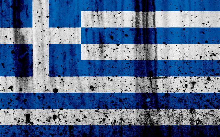 Download wallpapers Grecian flag, 4k, grunge, flag of Greece, Europe, national symbols, Greece, coat of arms of Greece, Grecian coat of arms